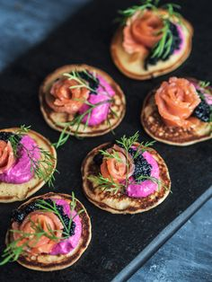 Blini with salmon and beetroot cream // Gluten free