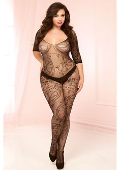This sexy plus size bodystocking is open crotch and comes in floral lace  with three quarter sleeves.