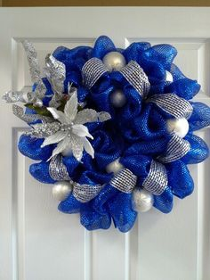 Blue and silver Christmas wreath
