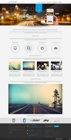 Evolution is an elegant, clean and responsive portfolio theme. It's created by using HTML5 and CSS3. It is responsive and mobile ready, it looks and works great on any  device(desktop,table,phone) .  http://www.mojo-themes.com/item/evolution-multi-purpose-responsive/