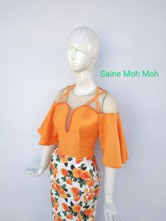 Dress Designs, Blouse Designs, Traditional Dresses Designs, Myanmar Traditional Dress, African Print Fashion, Blouse Styles, Designer Dresses, Fashion Dresses, Ruffle Blouse