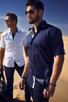 Buy 100 % cotton crafted designer French shirts with reverse collar, floral cuff or a leather watch band cuff in different colors and sizes!