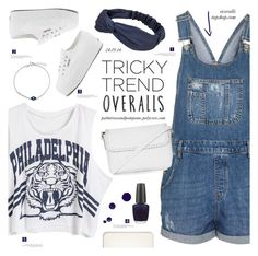"""Tricky Trend: Overalls"" by palmtreesandpompoms ❤ liked on Polyvore featuring Topshop, OPI, shu uemura, Superga, Bling Jewelry, TrickyTrend and overalls"