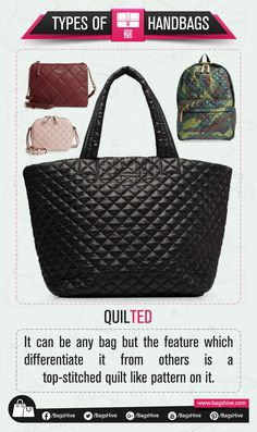 Types of Handbags | Quilted Bag | 20  It can be any bag but the feature which differentiate it from others is a top-stitched quilt like pattern on it.   #BagsHive #Quilted #QuiltedBag