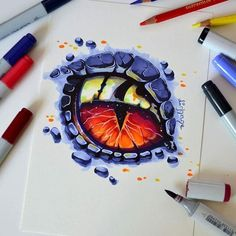 This dragon eye got commissioned to become a tattoo - I love the idea and can't wait to see it done <3 Dragons are awesome and so interesting - one of the best Mythical Creatures imo. What do you think? #dragon #eye #copic #marker #cute #kawaii #manga #anime #pet #fantasy #animal #lighane #lighanesartblog