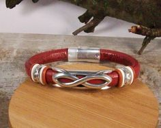 Unisex leather bracelet, Garnet Leather, Antique silver infinity focal slider, Antique silver round sliders, Magnetic matte silver clasp - pinned by pin4etsy.com