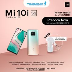 www.tharakansdutypaid.com #PREBOOK #Mi10i 5G Now @ Tharakan duty paid shop Sale starts on 10.01.2021 MI AUTOMATIC SOAP DISPENSER FREE 108MP PRIMARY CAMERA|33W FAST CHARGER IN-BOX|SLIMMEST HM2 SENSOR Contact us : Tharakans Duty Paid Shop First Floor,City Center Thrissur,Kerala,680001 Ph:0487-2320178 Mob:9846962828 #mi #mi10iprebooking #prebookmi10i #mobilephonesthrissur #mobilephonethrissur #smartphonesonlinethrissur #mobilestorethrissur #mobilesinthrissur #bestmobileshopthrissur Automatic Soap Dispenser, Shop Sale, Best Mobile, Charger, Smartphone, Shopping
