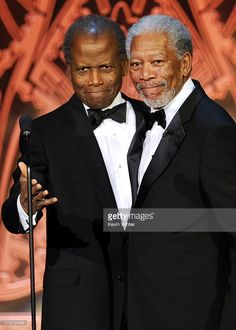 Actor Sidney Poitier (L) and 39th Life Achievement Award recipient Morgan Freeman speak onstage at the 39th AFI Life Achievement Award honoring Morgan Freeman held at Sony Pictures Studios on June 9, 2011 in Culver City, California. The AFI Life Achievement Award tribute to Morgan Freeman will premiere on TV Land on Saturday, June 19 at 9PM
