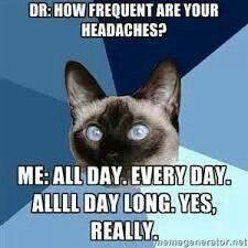 Q: How many headaches do you get a month?  A:You mean non headache days?