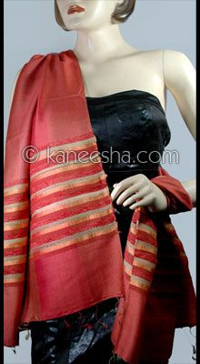 Trendy Red Hand Loom Silk Stole