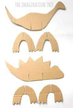 Cardboard Dinosaur Craft for Kids! - The Imagination Tree - Dinosaurier Geburtstagsparty Ideen für Kinder - Make a cardboard dinosaur craft for your dino loving kids with this super simple cut and slot metho - Dinosaur Crafts Kids, Dinosaur Activities, Toddler Crafts, Craft Activities, Dinasour Crafts, Paper Dinosaur, Older Kids Crafts, Rainy Day Activities For Kids, Simple Crafts For Kids