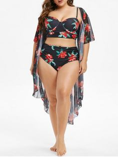 [35% OFF]  Plus Size Underwire Floral Tankini Swimsuit With Cover Up Set | Rosegal