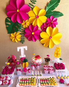 A festa flamingo mistura diversas cores com elementos tropicais. Veja uma série… The flamingo party mixes different colors with tropical elements. See a series of ideas for decorations, cakes and sweets to make an incredible celebration. Flamingo Party, Flamingo Birthday, Hawaiian Birthday, Luau Birthday, Paper Flowers Diy, Flower Crafts, Wall Flowers, Aloha Party, Birthday Party Decorations