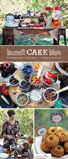 A Beautiful Outdoor Decorate Your Own Mini Bundt Cake Bar Party. Whether you're throwing a backyard bash or decorating a dessert table, these fall party ideas and free party printables will impress your guests! See more at LivingLocurto.com