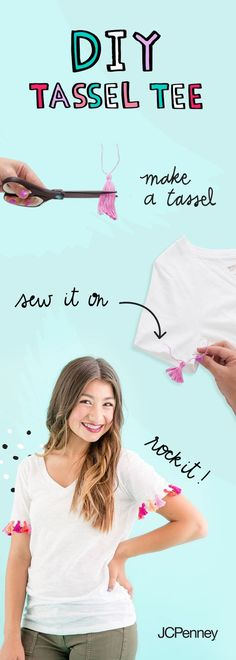 Check out this fun t-shirt how-to for back to school. Add a few colorful tassels to your favorite tee with this step-by-step tutorial. Sewing Hacks, Sewing Crafts, Sewing Projects, Diy Projects, Back To School Haircuts, Fun Crafts, Crafts For Kids, Do It Yourself Fashion, Step Kids