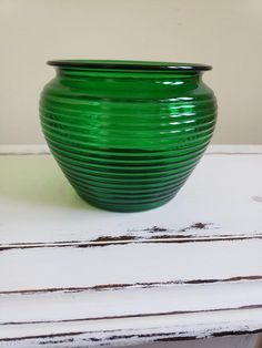 Items similar to Antique Green Glass Beehive Planter by National Potteries, NAPCO on Etsy Vintage Green Glass, Vintage Vases, Purple Glass, Glass Planter, Glass Vase, Planters, Thrift Shop Finds, Green Vase, Beehive