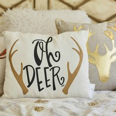 Oh Deer pillow & other Christmas decor :hearts: - March 02 2019 at Home Decor Bedroom, Living Room Decor, Diy Home Decor, Bedroom Ideas, Winter Bedroom Decor, Buy Decor, Dream Bedroom, Deer Pillow, Deer Decor
