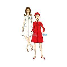 1960s Mod A Line Dress Pattern Vogue 7067 Vintage Sewing Patterns Bust 34 Uncut