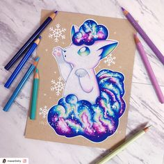 Finished Alolan/Ice Vulpix ⭐️ To see progress photos, visit my other social medias SOCIAL MEDIAS: ‣ Pokemon Zelda, Gif Pokemon, Pokemon Tattoo, Pokemon Eevee, Pokemon Fan Art, Cute Animal Drawings, Cute Drawings, Cute Pokemon Wallpaper, Pokemon Pictures