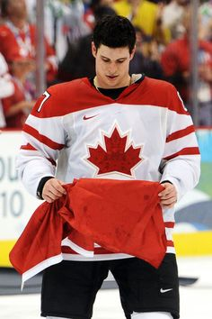 Sidney Crosby after winning the gold medal hockey game in overtime between the US and Canada ~ 2010 Vancouver Olympics