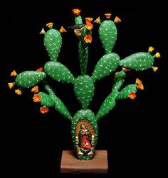 Cactus and bird in nest with Virgin of Guadalupe by Gabino Reyes, La Union Tejalapan