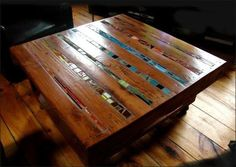 Table made out of pallet and mosaic tile