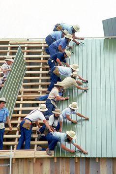 Amish men Raising the Barn.