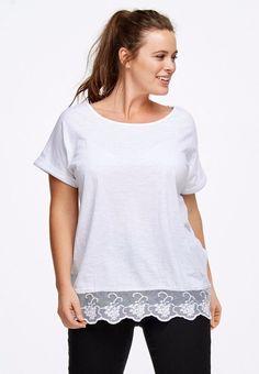 9e5f1585e8e Scoop Neck Lace Hem Tunic by Ellos® - plus size 1X (22 24)