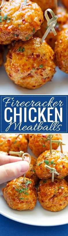 Firecracker Chicken Meatballs - These meatballs are made with chicken and taste . - - Firecracker Chicken Meatballs - These meatballs are made with chicken and taste . Chicken Meatball Recipes, Chicken Meatballs, Turkey Meatballs, Bourbon Meatballs, Teriyaki Meatballs, Cocktail Meatballs, Firecracker Chicken, Firecracker Meatballs, Firecracker Sauce
