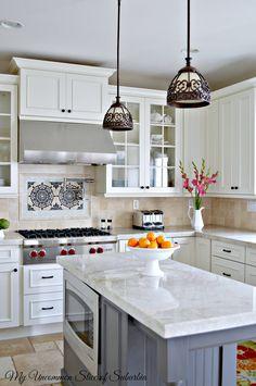 Kitchen island and backsplash