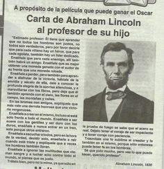 Carta de Abraham Lincoln al profesor de su hijo #frases
