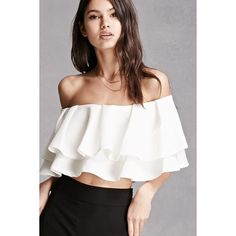 Forever21 Off-the-Shoulder Crop Top ($28) ❤ liked on Polyvore featuring tops, ivory, white off shoulder top, off shoulder crop top, off the shoulder crop top, white top and white ruffle top
