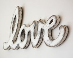 Love Sign wood distressed modern Handmade by OldNewAgain on Etsy