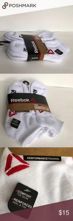 New Reebok 6 Pack Mens Quarter Cut White Socks Condition NWT  Size Shoe 6-12.5 Color White Material 95% Polyester 5% Spandex  Details Performance Training Reebok Underwear & Socks Athletic Socks