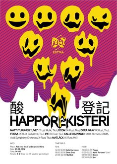 Acid smileys on a rave poster, by Fossa