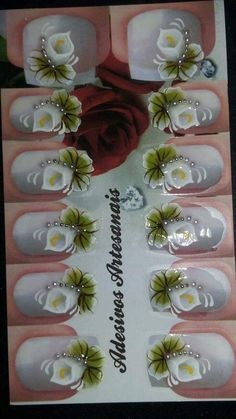 Manicures, Cartoon, Nail Jewels, Nail Stickers, Finger Nail Painting, Flower Nail Designs, Cute Nails, Adhesive, Paintings