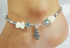 Anklet Ankle Bracelet Sea Shell Charm Light by ABeadApartJewelry, $14.50
