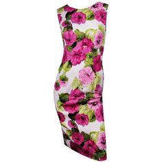 D White/Pink/Green Floral High Neck Dress via Polyvore