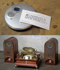 """Steampunked CD Player. Also what I love about this: the Russian word for """"steampunk."""""""