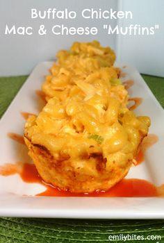 "Weight Watchers Friendly Recipes: Buffalo Chicken Mac & Cheese ""Muffins"""