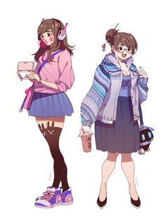 """k-owa: """"D.Va & Mei in normal clothes ! """""""