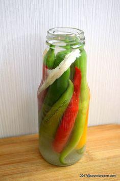 Ardei iuti in otet la borcan murati pentru iarna   Savori Urbane Hungarian Recipes, Celery, Pickles, Cantaloupe, Cucumber, Mason Jars, Fruit, Food, Crafts