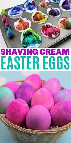 These easy shaving cream Easter eggs are simple to make and turn out vibrant and colorful. There is no need for a store-bought kit with this easy project. #eastereggs #easyDIY #shavingcream #eggs #shavingcream #craftsforkids