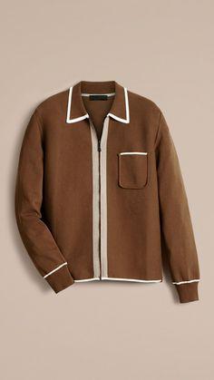 Cardigan en coton technique à bordure contrastante Marron Ocre | Burberry