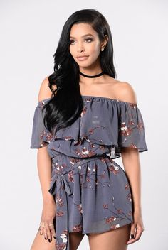 - Available in Charcoal - Off the Shoulder - Waist Tie - Ruffle Detail - Fully Lined - Chiffon - 100% Polyester 100% Rayon