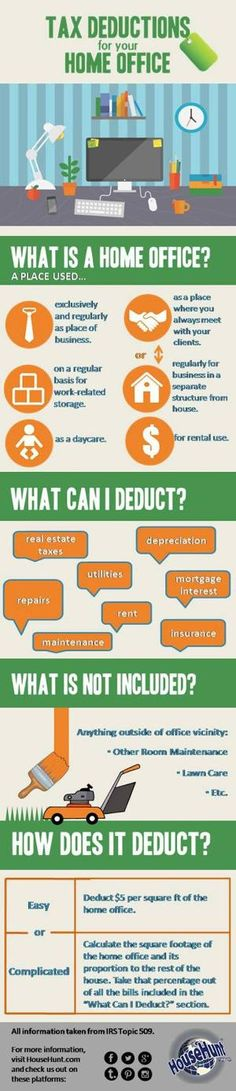 Tax Deductions for a Home Office #Infographic by esmeralda