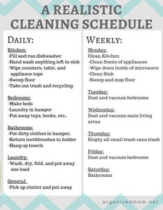 A realistic cleaning schedule moms can actually stick with. Organizing Tips. Cleaning Tips and tricks.