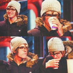 Mikey Way has to have his coffee So he really does smile!!