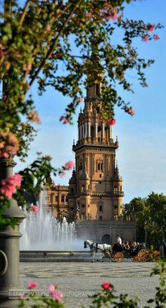 Una de las dos torres de la plaza de España de SEVILLA