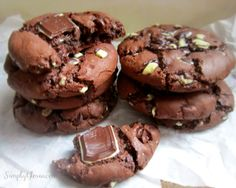 I am a cookie fanatic!  Especially when it comes to moist, chocolatey, brownie-like texture with a hint of mint.  These Mint Triple Chocolate Cookies are incredibly soft and chewy!  Literally, melt...